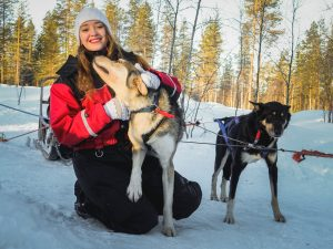 Meeting huskies in Rovaniemi, Lapland on our husky farm